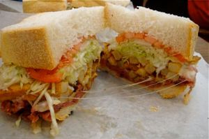 Yes, those are french fries inside the sandwich. Crazy Yinzers.